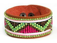 "Multicolor Beads 8"" Leather Bracelet with"