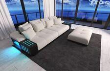Stoff Big Sofa BELLAGIO mit LED Beleuchtung XXL Designer Couch + Hocker Megasofa