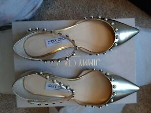 Jimmy Choo Leema Flat mirror  leather Pearl Embellished nvr worn orig $895