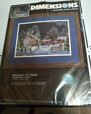 """New ListingDimension Counted Cross Stitch # 3899 Walking To Town 14"""" x 10"""" 1999 Nos"""