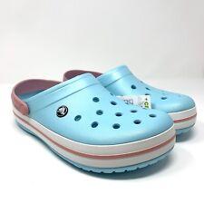 NWT Crocs Crocband Size 12 Women's Light Ice Blue Pink Clogs