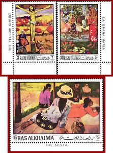 Ras al Khaima 1970 Art, paintings by Gauguin, Mi 392-394, set ** MNH