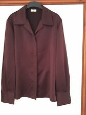 New Petite Viyella Wine Silky  Long Sleeve Blouse Size 10 RRP £90