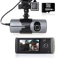 "Dash Cam 2.7"" LCD HD Dual Cam Car DVR Black Box w/ GPS Tracker + G-Sensor + 32GB"
