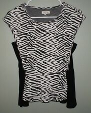 Silence Noise Cap Sleeve Shirt Top Blouse Black White Womens Size S