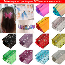 Synthetic Leather Fabric Sheets Candy Jelly Transparent Shiny Pentagram