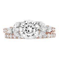 Bridal Ring Band set 14k 2tone Gold 2.72 Rd Marquise 3 stone Moissanite Promise