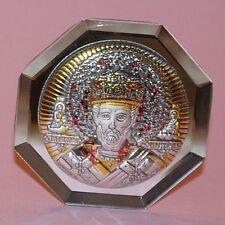 Icona Piccola San Nicola di Bari Bilaminato di Argento Retro Specchio Ottagonale