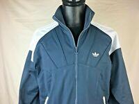 Adidas Track Jacket Windbreaker White Grey Gray Men's Large L Full Zip