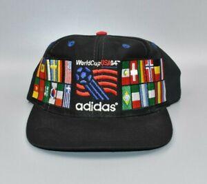 Vintage World Cup USA '94 Soccer adidas World Flags Snapback Cap Hat