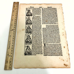 RARE 1497 Incunable Early Leaf Portraits Of Popes - Manuscript Codex Paper