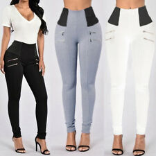 UK 8-24 ZANZEA Women High Waist Long Skinny Pencil Slim Trousers Pants Plus Size