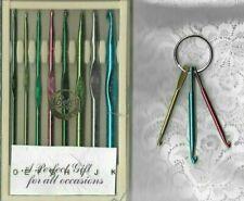 Vintage Made In USA 8 Boye Aluminum Crochet Hooks Set & 3 Hooks on a Ring