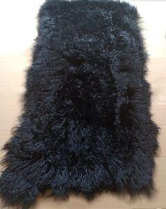 Black REAL TIBETAN FUR MONGOLIAN LAMBSKIN SHEEPSKIN HIDE BED THROW BLANKET RUG