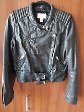 H&M Women's Size 40, Black, Collarless, Asymmetric Zip, Leather Jacket