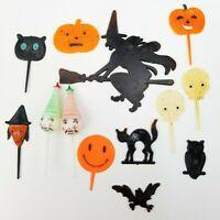 Vtg Lot of 13 Plastic Halloween Decorations Black Cat Cake Cupcake Toppers Picks