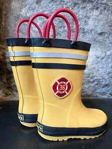 Carter's Fireman Rain Boots Yellow Firefighter Waterproof Reflective Kid Toddler
