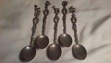 Italy silver plated Souvenir 5 decorative spoons flor de lis & family lineages