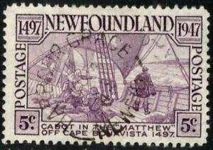 "🍁 Newfoundland #270 ~ 1947 5¢ ""Cabot"" with GRACE HARBOUR Split Ring Cancel"