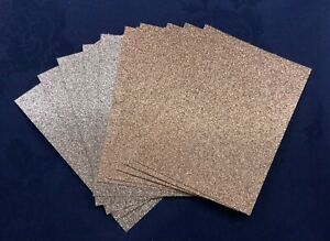 10 x Glitter Card Sheets-A6/C6 300gsm -L/Dark Sparkling Rose Gold/ SMALL/DEFECTS