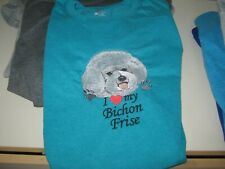 NEW I LOVE MY BICHON FRISE EMBROIDERED T-SHIRT ADD NAME FOR FREE
