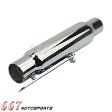 "12"" Shorty Universal Motorcycle Muffler Taper Chrome 1-1/2"",1-3/4"" For Harley"