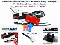 "Permanent Windshield Mount + 9'3"" Direct Wire ESCORT, BELTRONICS Radar Detector"
