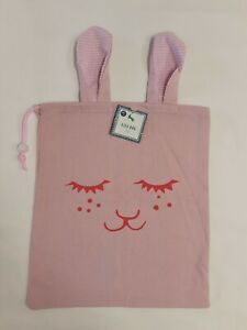 Easter/Spring Pink Bunny Face W/Ears Cloth Gift Bag W/Drawstring BNWT!