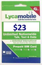 USA Lyca 1gb Prepaid SIM Card Minutes Standard Micro Nano 4g LTE Valid 30 Days