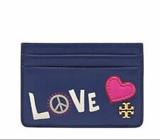 Tory Burch Peace and Love slim card case NAVY SEA Brand New Authentic