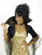 BOLERO Capa Araña 2 piezas tul terciopelo cuello alto + Collar Negro Oro Mujer