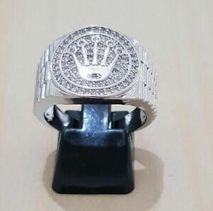 Men's Diamond Silver Ring Stunning Sparkling Signity Stone Rolex Design Ring