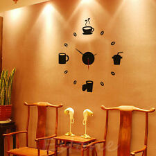 Coffee DIY Large Wall Clock Home Office Room Decor 3D Mirror Surface Sticker