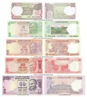 India 1 + 5 + 10 + 20 + 50 Rupees Set of 5 Banknotes 5 PCS UNC