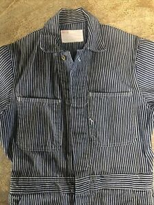 Vintage 50s 60s American Pin Stripe Coveralls 36 Conductor Mechanic