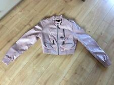 Dusty Pink biker style leather look short jacket  fits UK 8 - 10