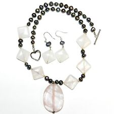 "GN143A Rose Quartz Gemstone, Pearl & Silver 19"" Necklace & Earring Set"