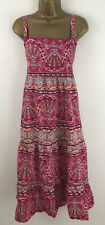 Ladies Summer Maxi Dress Pink Red Floral Hippy Boho Cotton Strappy Size 18/20
