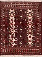 All-Over Balouch Afghan Geometric Area Rug Wool Hand-Knotted Oriental Carpet 3x4