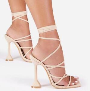 Lace-Up Cross-Strap High Heels Gladiator Sandals Open Toe Spike Heel Shoes Women
