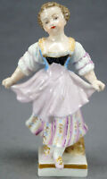 Meissen Marcolini Period Hand Painted 4 1/4 Inch Girl Figurine Circa 1774 - 1817