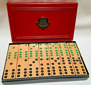 Crisloid Top Grade Dominos Vintage Butterscotch Dominos With Original Red Case
