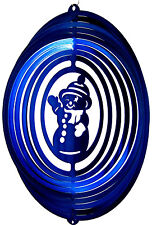 """Snowman Wind Spinner Blue 12"""" Lifetime Rust Warranty Stainless Steel Made in Usa"""