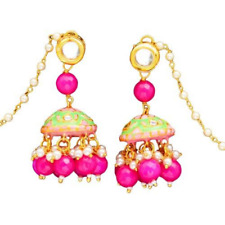 Gold Plated Jhumka Earrings Meenakari Polki Kundan Traditional Wedding Jewellery