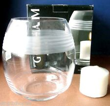 "Gorham Deco Wave Hurricane Large Candle Holder 8""H Crystal Multi Function New"