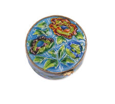 Chinese Sterling Silver Shaded Enamel Pill Snuff Trinket Box, Peony flower