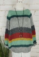 NEU ITALY OVERSIZE CHUNKY GROBSTRICK PULLI MOHAIR&WOLLE MULTICOLOR M3 36-42