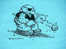 Vtg 80s E. SMITH Fli-Back Toy Paddle Ball Graffiti Cartoon Thin T Shirt Mens L
