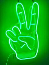 "New Yeah Gesture Hand Green Neon Sign Acrylic Gift Light Lamp Bar Wall 14""x10"""