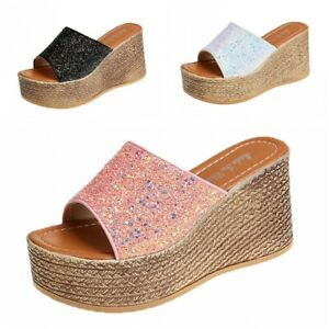 Summer Platform Women Sequin Glitter Slip On Slippers Sandals Party Shoes Club B